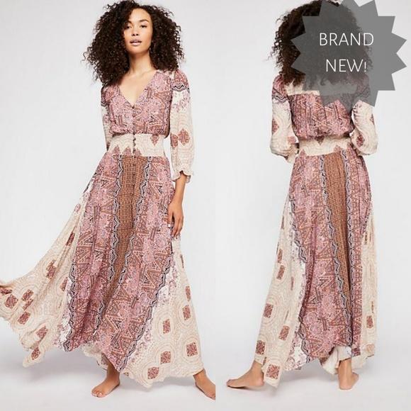 894a07fb6ae NWT FREE PEOPLE Mexicali Rose Maxi dress ivory 946